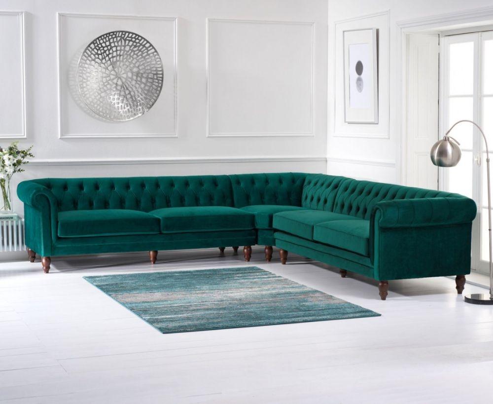 Mark Harris Lauren Green Velvet 2 Corner Sofa