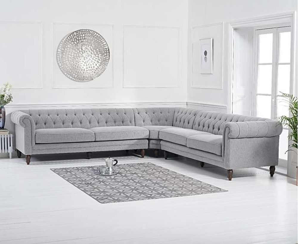 Mark Harris Lauren Grey Linen Fabric 2 Corner Sofa