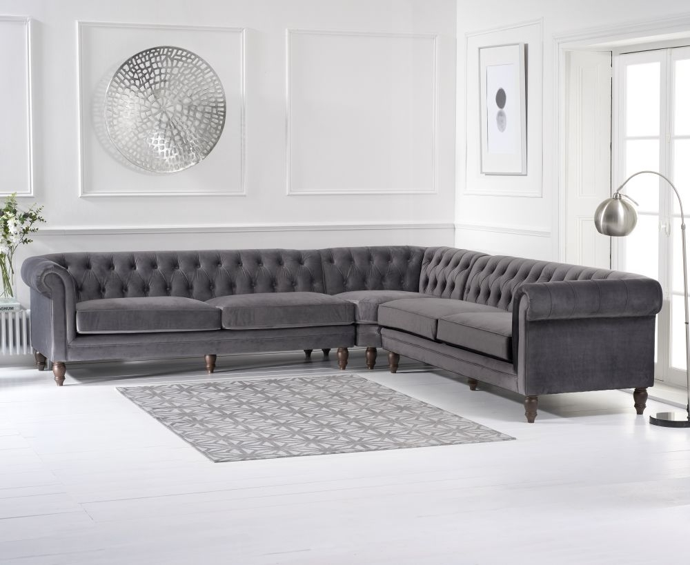 Mark Harris Lauren Grey Velvet 2 Corner Sofa
