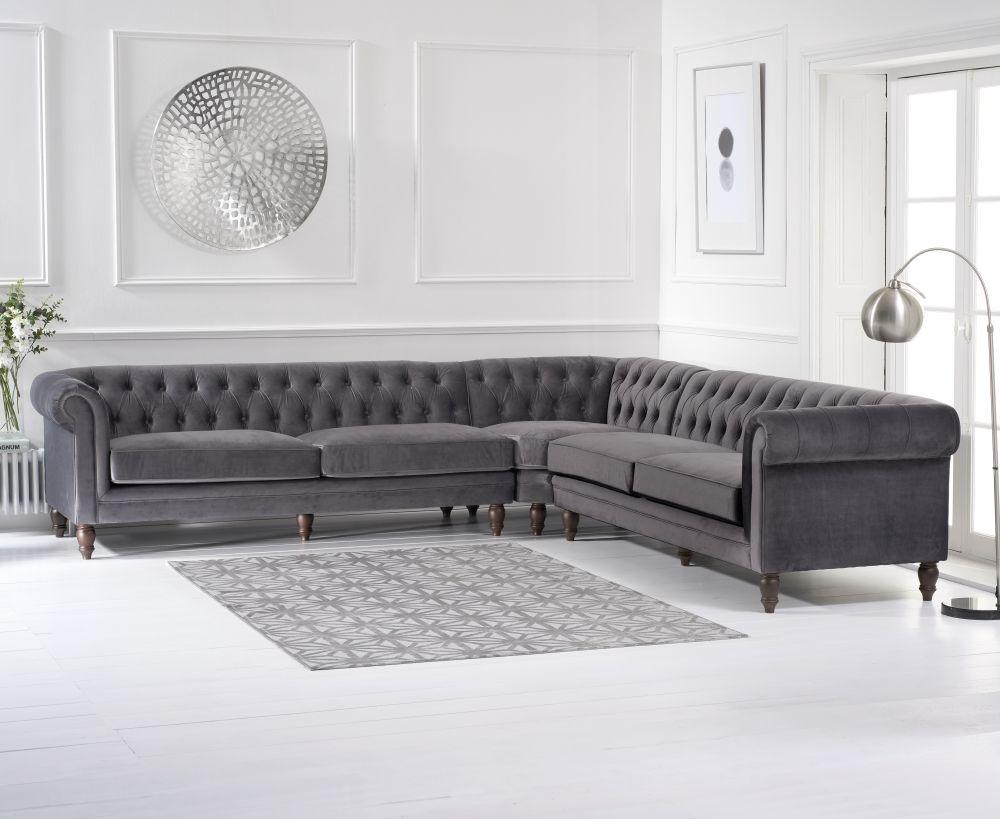 Product photograph showing Mark Harris Lauren Grey Velvet 2 Corner Sofa