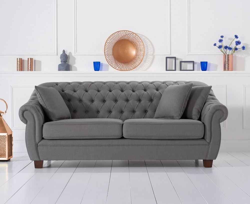 Mark Harris Liv Chesterfield Grey Fabric 3 Seater Sofa