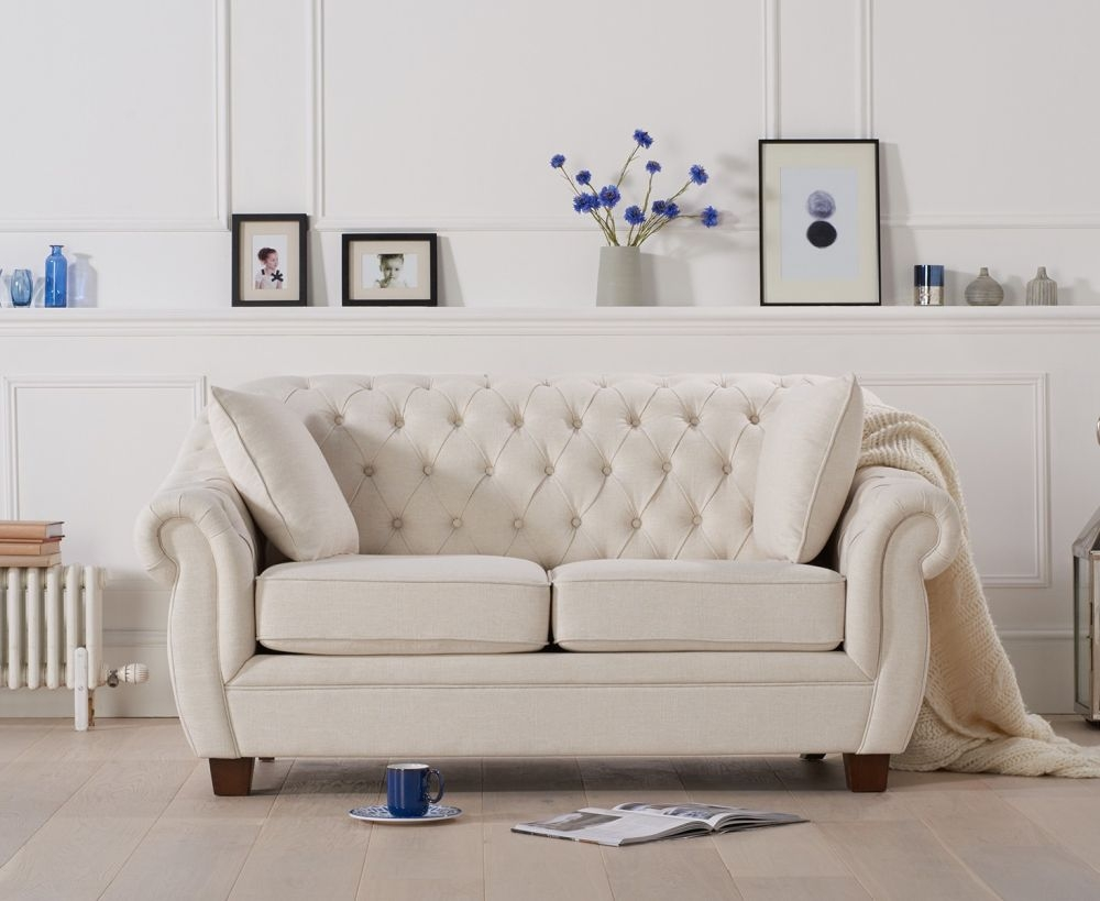 Mark Harris Liv Chesterfield Ivory Fabric 2 Seater Sofa