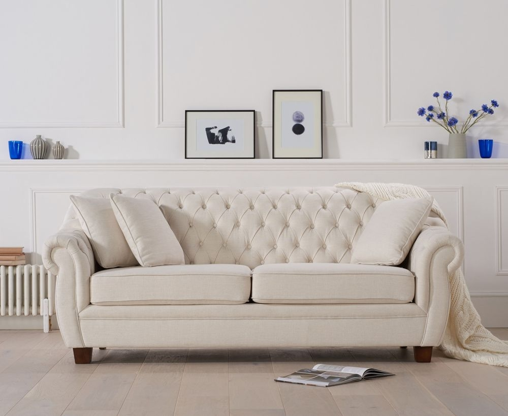 Mark Harris Liv Chesterfield Ivory Fabric 3 Seater Sofa