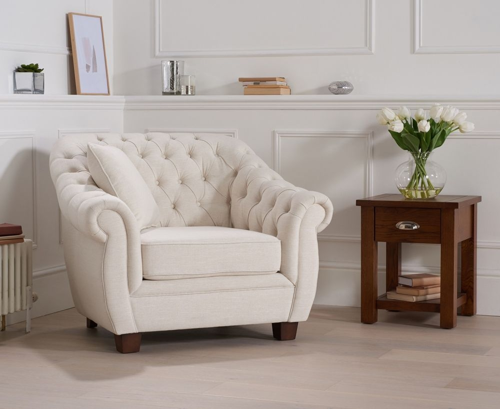Mark Harris Liv Chesterfield Ivory Fabric Armchair