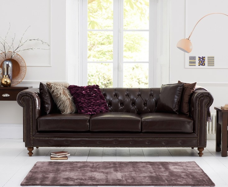 Mark Harris Montrose 3 Seater Brown Leather Sofa