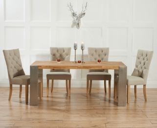 Mark Harris Soho Solid Oak and Metal 180cm Extending Dining Table with 4 Albury Beige Chairs
