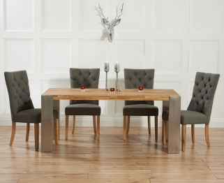 Mark Harris Soho Solid Oak and Metal 180cm Extending Dining Table with 4 Albury Grey Chairs