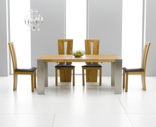 Mark Harris Soho Solid Oak and Metal 180cm Extending Dining Table with 4 Arizona Brown Chairs