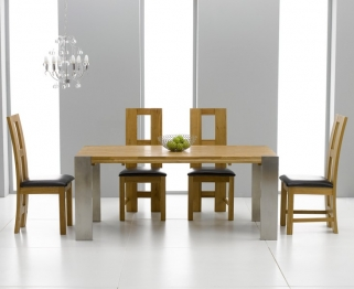 Mark Harris Soho Solid Oak and Metal 180cm Extending Dining Table with 4 John Louis Black Chairs