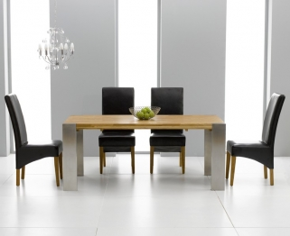 Mark Harris Soho Solid Oak and Metal 180cm Extending Dining Table with 4 Roma Black Chairs