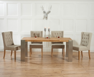 Mark Harris Soho Solid Oak and Metal 180cm Extending Dining Table with 4 Stefini Beige Chairs