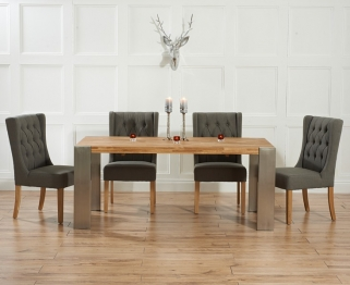 Mark Harris Soho Solid Oak and Metal 180cm Extending Dining Table with 4 Stefini Grey Chairs