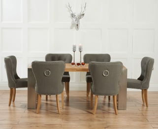 Mark Harris Soho Solid Oak and Metal 180cm Extending Dining Table with 6 Kalim Grey Chairs