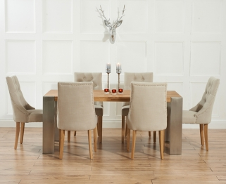 Mark Harris Soho Solid Oak and Metal 180cm Extending Dining Table with 6 Pailin Beige Chairs