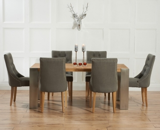 Mark Harris Soho Solid Oak and Metal 180cm Extending Dining Table with 6 Pailin Grey Chairs