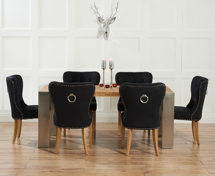 Mark Harris Soho Solid Oak and Metal 180cm Extending Dining Table with 6 Kalim Black Chairs