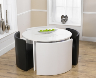 Mark Harris Sophia High Gloss White Round Dining Set with 2 Black and 2 White Faux Leather Dining Chairs