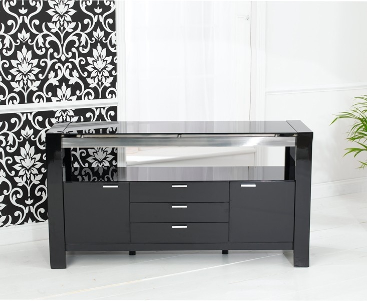 Mark Harris Sophia Black High Gloss Sideboard - Large Wide 2 Doors 3 Drawers