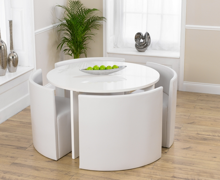 Mark Harris Sophia High Gloss White Round Dining Table with 4 White Faux Leather Chairs