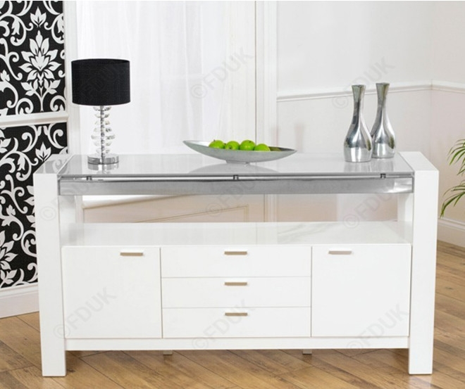 Mark Harris Sophia White High Gloss 2 Door 3 Drawer Sideboard with Glass Top