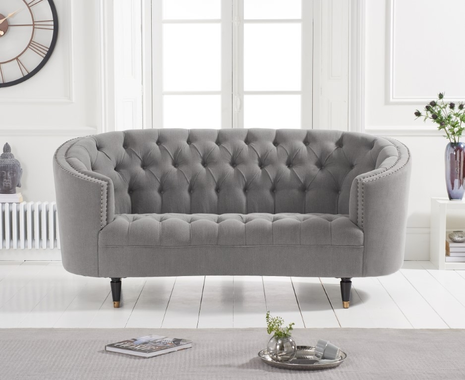 Mark Harris Spencer Grey Linen Fabric 2 Seater Sofa