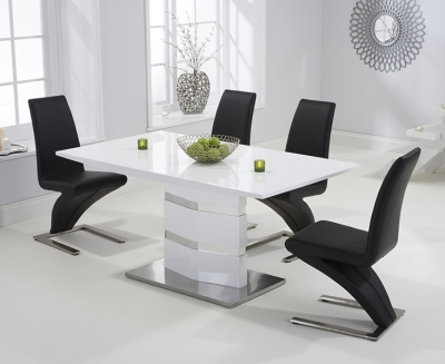 Mark Harris Springfield White High Gloss 160cm Dining Table with 4 Black Hereford Chairs