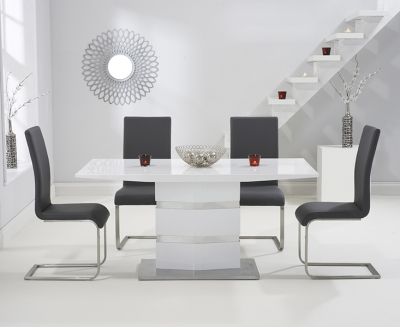 Mark Harris Springfield White High Gloss 160cm Dining Table with 4 Grey Malibu Chairs