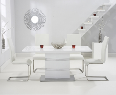 Mark Harris Springfield White High Gloss 160cm Dining Table with 4 White Malibu Chairs