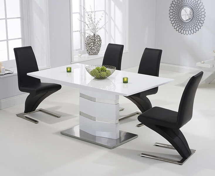 Mark Harris Springfield White High Gloss 160cm Dining Set with 4 Black Hereford Dining Chairs