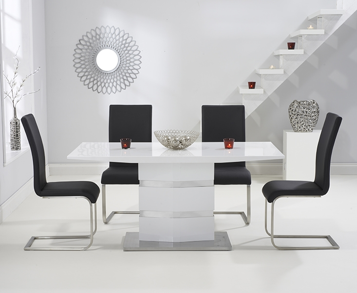 Mark Harris Springfield White High Gloss 160cm Dining Table with 4 Black Malibu Chairs