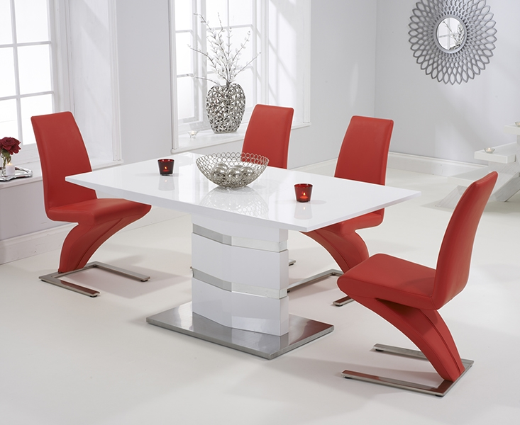 Mark Harris Springfield White High Gloss 160cm Dining Set with 4 Red Hereford Dining Chairs
