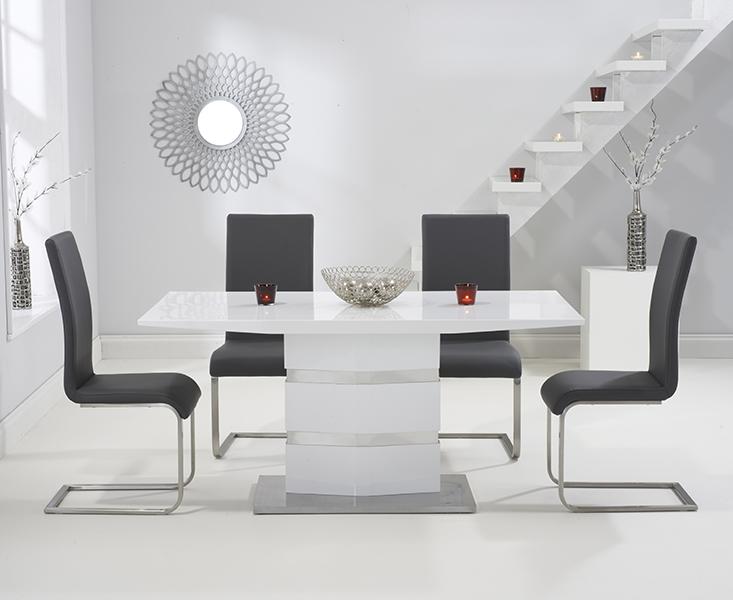 Mark Harris Springfield White High Gloss Dining Table and 4 Malibu Grey Chairs