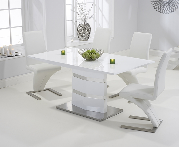 Mark Harris Springfield White High Gloss Dining Set - 160cm Rectangular with 4 White Hereford Chairs