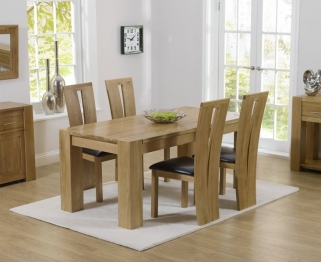 Mark Harris Tampa Solid Oak 150cm Dining Set with 4 Arizona Brown Dining Chairs