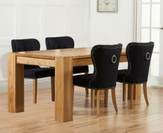 Mark Harris Tampa Solid Oak 150cm Dining Set with 4 Kalim Black Dining Chairs