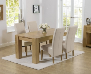 Mark Harris Tampa Solid Oak 150cm Dining Set with 4 Roma Cream Dining Chairs