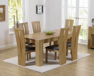 Mark Harris Tampa Solid Oak 150cm Dining Set with 6 Arizona Brown Dining Chairs