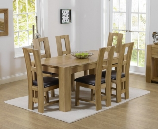 Mark Harris Tampa Solid Oak 150cm Dining Set with 6 John Louis Brown Dining Chairs