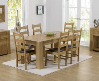 Mark Harris Tampa Solid Oak 150cm Dining Set with 6 Valencia Brown Dining Chairs