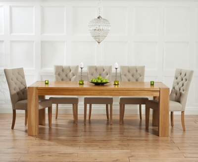 Mark Harris Tampa Solid Oak 180cm Dining Set with 6 Albury Beige Dining Chairs