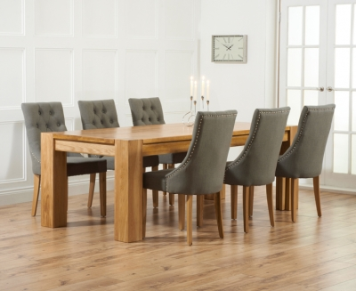 Mark Harris Tampa Solid Oak 180cm Dining Set with 6 Pailin Grey Dining Chairs