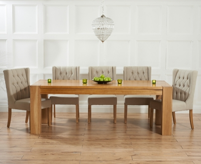 Mark Harris Tampa Solid Oak 180cm Dining Set with 6 Stefini Beige Dining Chairs