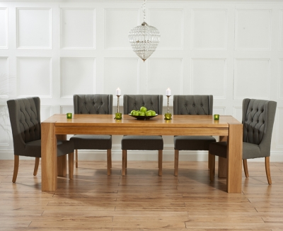 Mark Harris Tampa Solid Oak 180cm Dining Set with 6 Stefini Grey Dining Chairs
