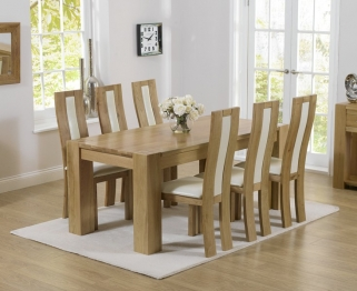 Mark Harris Tampa Solid Oak 180cm Dining Table with 6 Havana Cream Chairs