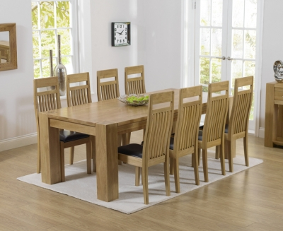 Mark Harris Tampa Solid Oak 220cm Dining Set with 8 Monte Carlo Brown Dining Chairs