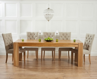 Mark Harris Tampa Solid Oak 220cm Dining Table with 6 Albury Beige Chairs
