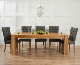 Mark Harris Tampa Solid Oak 220cm Dining Table with 6 Albury Grey Chairs