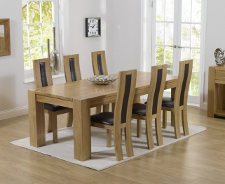Mark Harris Tampa Solid Oak 220cm Dining Table with 6 Havana Brown Chairs
