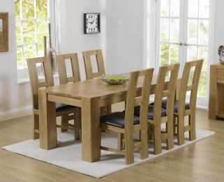 Mark Harris Tampa Solid Oak 220cm Dining Table with 6 John Louis Brown Chairs