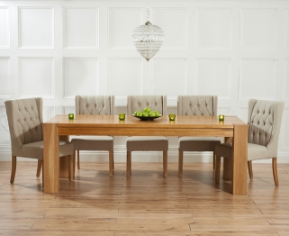 Mark Harris Tampa Solid Oak 220cm Dining Table with 6 Stefini Beige Chairs